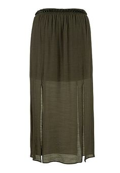 belted gauze plus size maxi skirt with slits - maurices.com