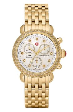 MICHELE 'CSX-36 Diamond' Diamond Dial Gold Watch Case | Nordstrom