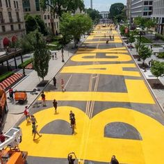 """""""Shero"""" Mayor Muriel Bowser : #mayormurielbowser  #fucktrump the Mayor of Washington, DC orders to have painted a giant 'Black Lives Matter' message on the road to the White House  Washington, DC is painting a message in giant, yellow letters down a busy DC street ahead of a planned protest this weekend: BLACK LIVES MATTER.  The massive banner-like project spans two blocks of 16th Street, a central axis that leads southward straight to the White House. Each of the 16 bold yellow letters… Muriel Bowser, Dutch Artists, Basketball Court, Fair Grounds, The Incredibles, Amy Sedaris, Life, Washington Dc, Instagram"""
