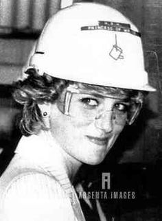 Princes Diana smiles as she wears goggles and a hard hat during a tour of the Portland Alcoa Aluminum Shelter plant October 28. The Prince and Princess of Wales are on a Royal Tour of Australia. 10/28/1985