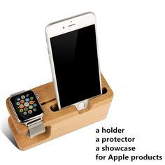 Luxury Classics Design wooden Desktop Stand Holder for iphone6 Charger Cord Hold For Apple Watch for