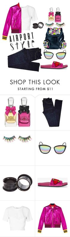 """""""air port style"""" by bleeding-babydoll ❤ liked on Polyvore featuring Juicy Couture, Yves Saint Laurent, FromNicLove, Hot Topic, Prada, T By Alexander Wang, Gucci and Current Mood"""