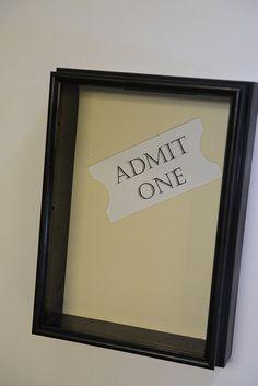 "Shadow Box ""Admit One"" for tickets 10 1 /2 x 14"