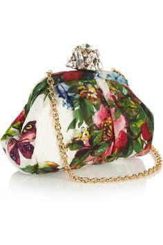 Dolce & Gabbana Miss Dea fruit and floral-print brocade clutch  NET-A-PORTER.COM