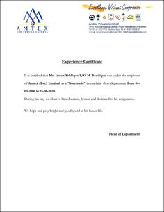 Work Experience Letter Format For Mechanical Engineer Pdf