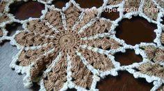 Supercroche Centro de Mesa em croche - Detalhe - Castanho em Flor