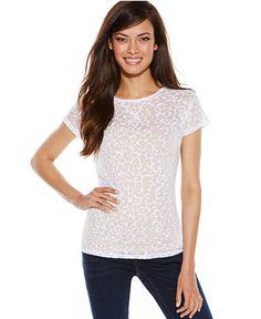 INC International Concepts Leopard-Print Tee - Tops - Women - Macy's