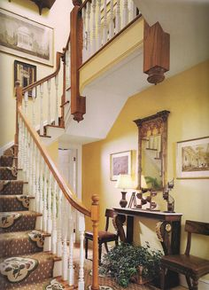 Beautiful foyer and staircase, interior design ideas and home decor by The Devoted Classicist Decor, Residential Design, The Hamptons, Beautiful Interior Design, Foyer Decorating, Foyer Design, English Country Style, Beautiful Interiors, Stairways