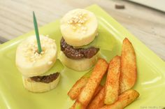 burgers made out of nuts & cocoa, buns made out of bananas, fries are apples!
