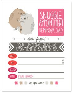 Snuggle Appointment greeting card. $4.00, via Etsy.