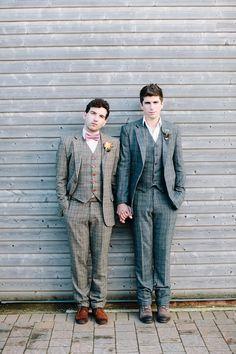 Gay Wedding Couple in Tweed Suits - #matthewoliver  #hayleysavagephotography