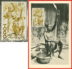 Togo. Woman spinning with a bottom-whorl-spindle. On this postcard, sent 1955, the stamp also shows the image of two women spinning.