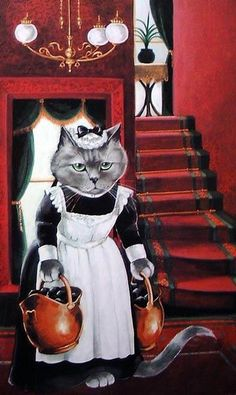 This picture is an oxymoron.  You would never find a cat in service to anyone.  ;-)・Susan Herbert