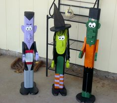 Halloween Pole People made of 2 x 4 Wood.  Dracula.  Witch.  Frankenstein