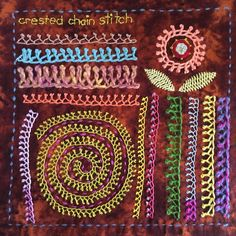 Crested chain stitch sampler for the TAST embroidery challenge