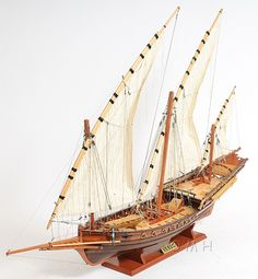 """CaptJimsCargo - Corsair Barbary Pirate Xebec Galley Wooden Model 35"""" Mediterranean Sailing Ship, (http://www.captjimscargo.com/nautical-home-decor/pirate-decor-models/corsair-barbary-pirate-xebec-galley-wooden-model-35-mediterranean-sailing-ship/) Corsairs, the pirates of the Mediteranean, decided on the Xebec as their vessel of choice for lighting fast attacks on heavier ladened merchant ships."""
