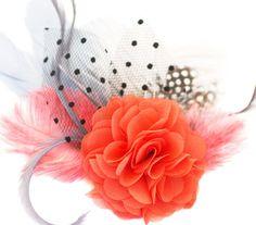 """Headpieces Fascinators - """"comes love"""" Fascinator Wassermelone koralle grau - ein Designerstück von billies bei DaWanda"""