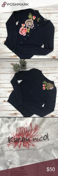 """Anthropologie Karen Nicol Anemone Bloom Cardigan Gorgeous cashmere blend cardigan with beautiful floral detail on the front and back.  Looks great over a dress or with your favorite jeans.  It is 21"""" Long and the Bust measures 23"""".  The sweater is navy. Anthropologie Sweaters Cardigans"""