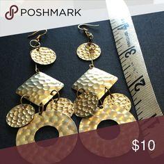"""Gold Dangling Earrings Approx 4"""" length Jewelry Earrings"""