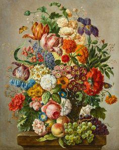 Joseph Nigg (1782-1863) - Still life with flowers, oil on canvas, 68,5 x 54 cm.