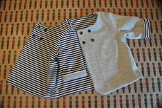 Veste de petit marin - Burda Septembre 2013 Veste 143 - Jersey marinière Coupons de Saint Pierre - Molleton gris Bennytex - Blog onsundaymornings