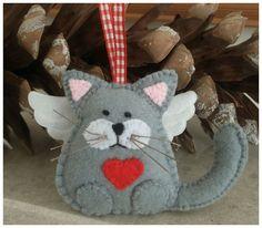 Customised order - 4 x Angel Cat felt hanging ornaments x 4.99 each