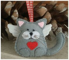 Angel Cat felt hanging ornament by CraftyCatLadyUK on Etsy