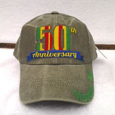 c6464d7ef 50TH ANNIVERSARY VIETNAM VET Military Veteran STONE WASHED OD Hat 6567 MTEC  | eBay