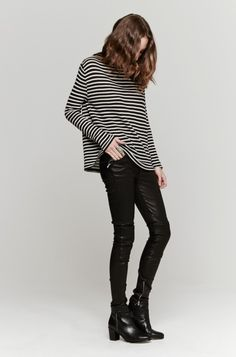 all black and stripes chic. #styleeveryday