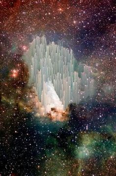 This is digital art created by pixel sorting a photo of the Swan Nebula taken by the European Southern Observatory. Art by Adam Ferriss. Not real, but still very cool.
