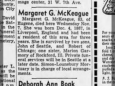 McKEAGUE, Margaret Garmory.Obit. 8Nov1951.EugeneOR