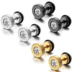 Aroncent 6pc Men's Stainless Steel Faux Illusion Greek Vintage Stud Earrings * Click on the image for additional details.