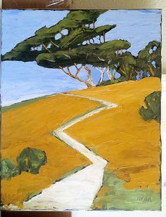 FREE U.S. shipping on any paintings ! Use coupon code: FREESHIP4YOU Original impressionist landscape oil painting titled Summer Trail, showing