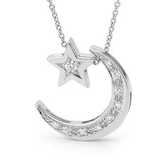 Diamond and white gold crescent moon necklace with diamond, natural diamond pendants, star and moon necklace via Etsy