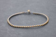 Grey Woven Beaded Stud Brass Simple Anklet