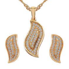 CZ Studded Brass Pendant, Earrings Set with Chain #beautiful, #JewelryCollection , #indianfashion #traditional #indiapokemongo
