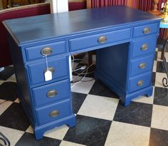 Repurposed Duncan Phyfe Desk painted with Kristi Kuehl Pure Home Paint & Finishes, Non-Toxic, No VOC's Sailor Chalk Paint. Distressed Furniture, Painted Furniture, Duncan Phyfe, Cottage Furniture, Red Rooster, Marine Blue, Paint Finishes, Dressers, House Painting