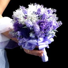 Satin wedding bouquet lavender and boutonniere by wandadesign, Lavender Hair, Yes To The Dress, Hair Ornaments, Unique Weddings, Special Day, Wedding Bouquets, To My Daughter, Reception, Purple
