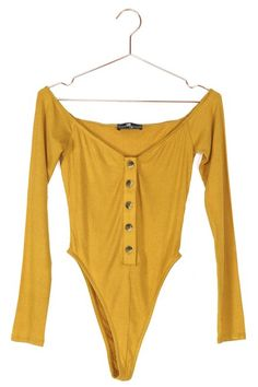 An off the shoulder look that actually stays on your shoulders! Pair this super soft and stretch bodysuit with your favorite high-waisted pant. Joyful, Rib Knit, Off The Shoulder, Button Up, Bodysuit, Fantasy, Yellow, My Style, Long Sleeve