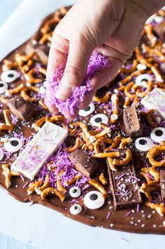 Halloween Food | 3 Minute Monster Party Bark !  Melted Hershey's Bars, Hershey's Candy Corn Bars, Candy Eyes, Coconut, Pretzels and Wow!