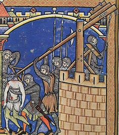 From the Maciejowski Bible. Trebuchet team launching a headless corpse at a besieged castle. Medieval World, Medieval Castle, Medieval Art, Renaissance Art, Medieval Manuscript, Illuminated Manuscript, Maleficarum, Medieval Paintings, Illumination Art