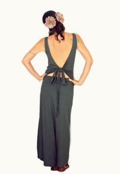 Convertible backless maxi dress, Open back dress, Goddess green dress