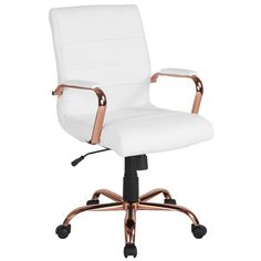 Mid-Back White Leather Executive Swivel Chair w/ Rose Gold Frame & Arms - Flash Furniture your workspace with this stylish Mid-Back Leather Office Chair with Chrome Arms that is highlighted with attractive horizontal stitching. Swivel Office Chair, Home Office Chairs, Home Office Decor, Home Decor, Office Ideas, Office Table, Office Furniture, Furniture Ideas, Small Office Chair
