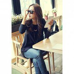 $6.85 Elegant Round Neck Irregular Hem Loose Fit Long Sleeve Black Color T-Shirt For Women