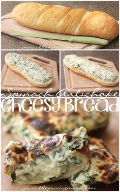Spinach Artichoke Cheesy Bread
