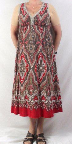 Lucky Brand XL size Tank Dress Brown Red Boho Empire Waist Cotton Festival Hippy #LuckyBrand #EmpireWaist #Festive