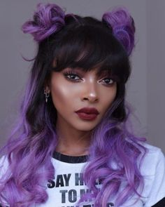 Pantone's Color of the Year, Ultra Violet, Is the Perfect Hair Inspiration Purple Hair Black Girl, Pastel Purple Hair, Violet Hair, Hair Color Purple, Hair Dye Colors, Dark Purple, Purple Hair Styles, Light Purple Hair Dye, Black Hair With Color