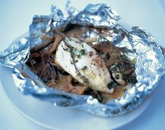 Jamie Oliver, Chicken in a bag: INGREDIENTS • 2 x 200g skinless chicken breasts  • 1 handful dried porcini  • 255g mixed mushrooms, torn up  • 130ml white wine  • 3 knobs butter handful of thyme, 2 cloves sliced garlic.