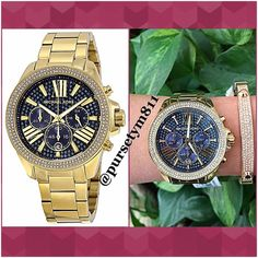 🎉HP🎉Authentic Michael Kors Crystal Gold Watch 💯% AUTHENTIC ✨ STUNNING💓 Gorgeous blue face crystal pave gold tone women's watch from Michael Kors 🌹 Stainless steel case and bracelet. Fixed gold tone bezel set with crystals. Chronograph- three sub-dials displaying😍 Water resistant at 100 meters. New with tag. Box, card included 💞 Bangle not included 🙅🏼 NO TRADE🙅🏼 PRICE IS FIRM💲 Michael Kors Accessories Watches
