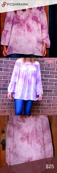 ❤️FINAL SALE❤️ Tie dye off shoulder top Tie dye smocked off-the-shoulder plum  top. Model is wearing a small, fits true to size. Tops Blouses